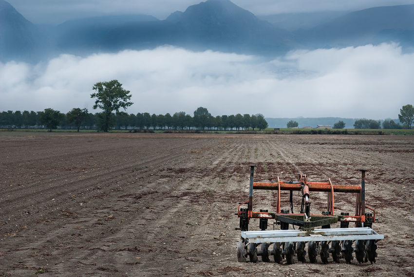 Agriculture Aratro Cloud - Sky Cloudy Farmer Field Landscape Machinery Plow Plow Land Plowed Field Rural Scene Sky Tree