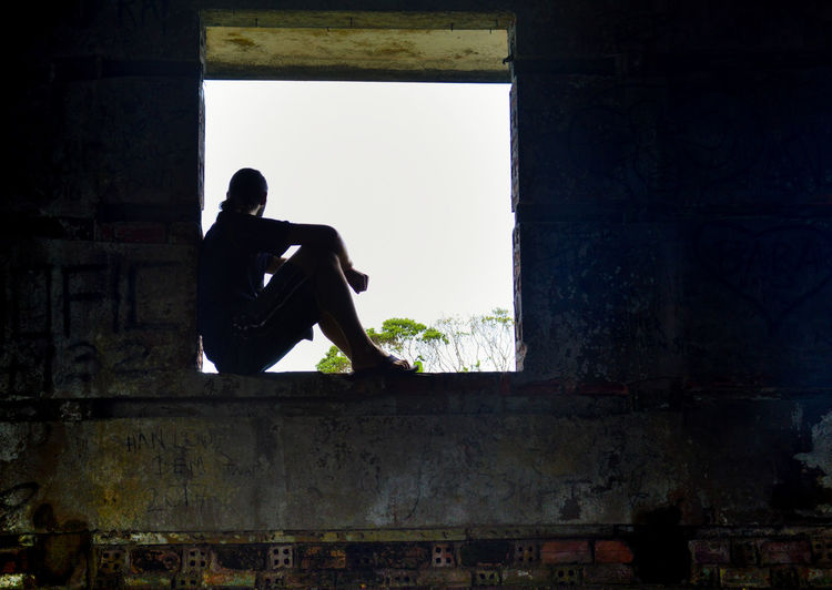 Contemplative Silhouette People One Person What Lies Beyond... Framed By A Window Lifestyle Abandoned & Derelict Abandoned Places Emotions Captured Emotion Depression - Sadness Day Adult Sport Full Length Adults Only One Man Only Only Men Indoors  Sky Athlete Young Adult Mindfulness Meditation