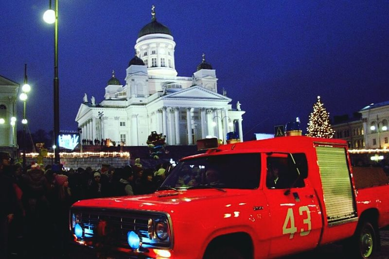Senatesquare Senaatintori Helsinki Finland Suomi Christmas Tree Christmas Lights Cathedral Church Firetruck People Watching Christmastime Christmas Around The WorldChristmas Decorations Cities At Night Cities Of Europe Cities Worldwide