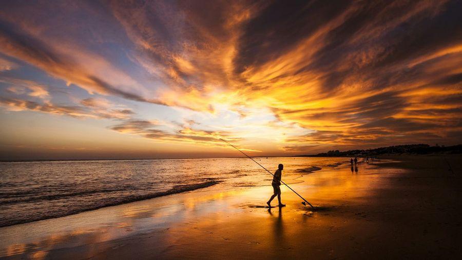 Man walking on shore against sea at beach