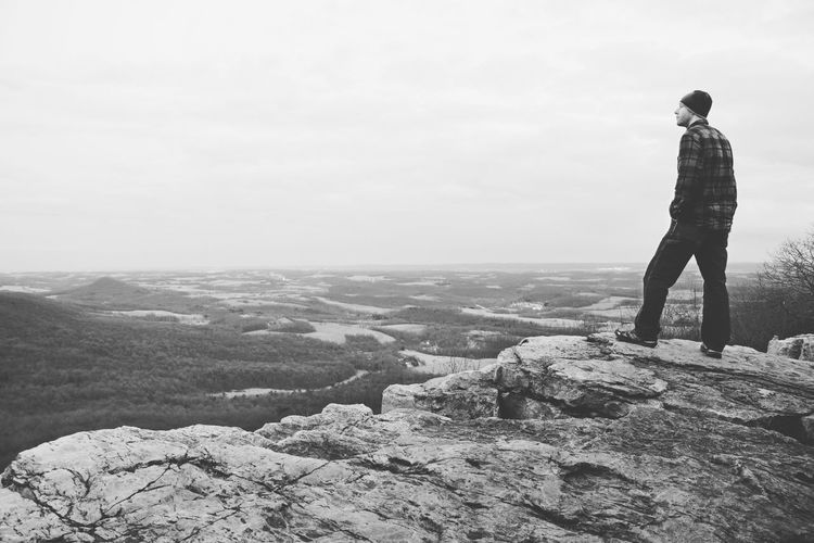 Accomplished. One Person Adults Only Leisure Activity Outdoors Adult Looking At View Day Rock - Object Landscape Standing People Sky Scenics Nature Monochrome Beauty In Nature Outdoor Photography EyeEm Best Edits EyeEm Masterclass EyeEm Best Shots Observation Point Mountain Betterlandscapes Pennsylvania Pulpit Rock Miles Away Lost In The Landscape