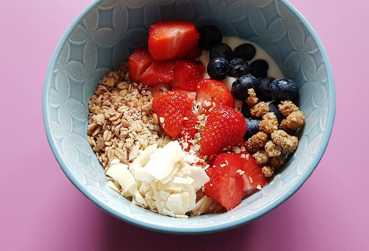 High angle view of breakfast served in bowl