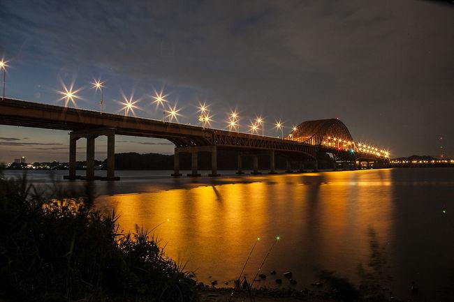 Bangwha Bridge Night View After Sunset Light Bridge Han River Seoul South Korea Korea
