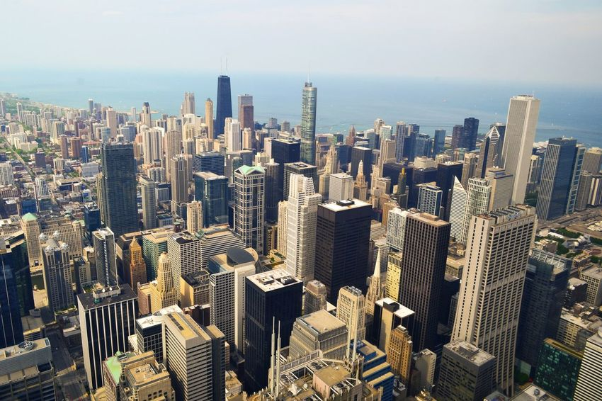 The View of Chicago Skyscrapers from the Sears Tower aka Willistower . USA Travel Dubai UAE Cityscapes