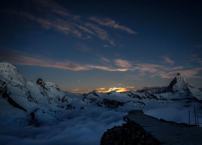 Berge Gornergrat Hotel Matter Moon Moonset Mountain Mountain Hotel Night Nightphotography No People Outdoors Peak Snow Switzerland Wallis Winter Zermatt