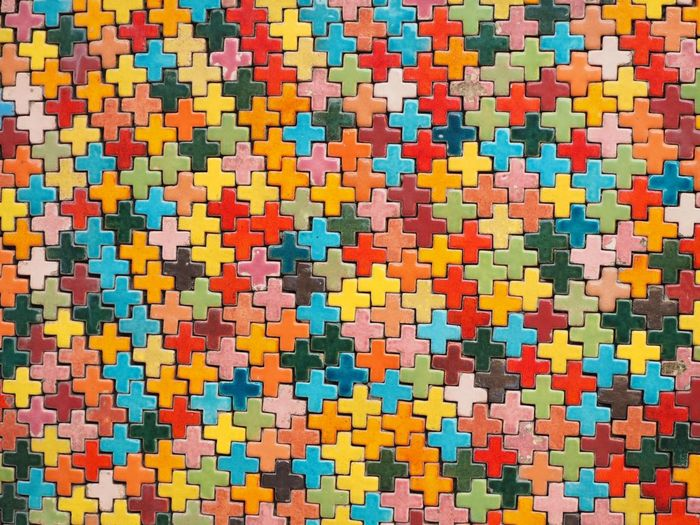 Close-Up Of Multi Colored Puzzle Connection