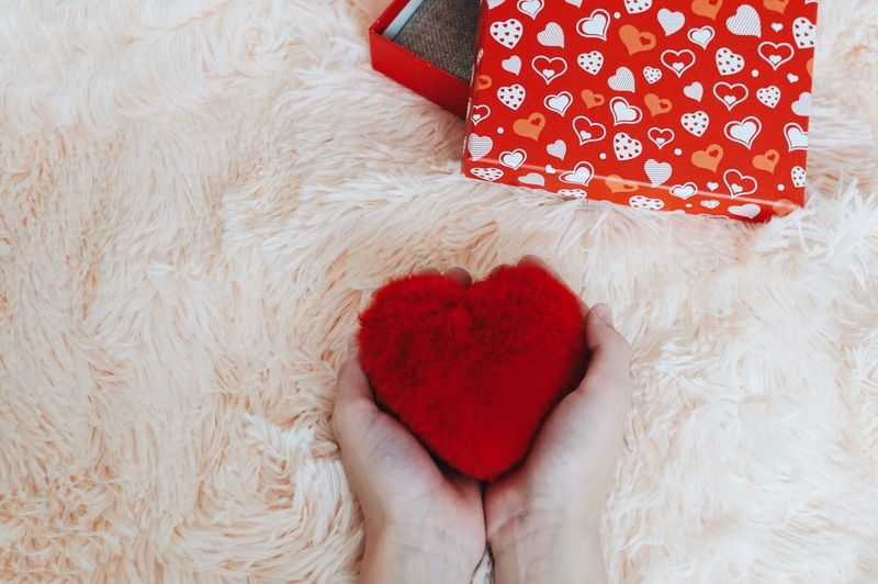 Cropped hands holding red heart shape over fur
