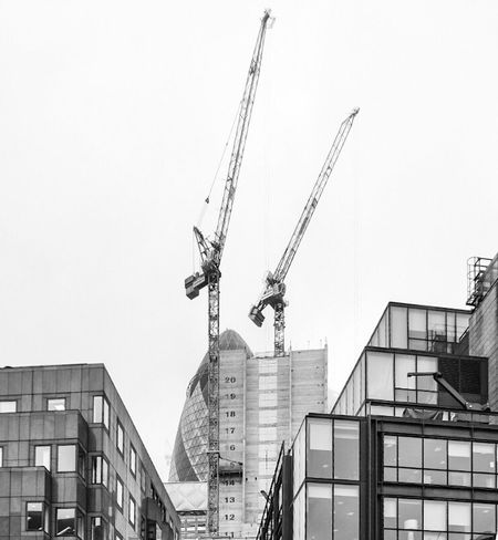 Architecture Building Exterior Built Structure Clear Sky No People Day Outdoors Low Angle View City Streetphotography Monochrome Blackandwhite Bnw London Postcode Postcards Gherkin Gherkin Tower Gherkin Building