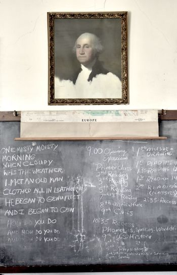Interior - one room schoolhouse, Midwest Kansas, United states George Washington Kansas MidWest One Room Schoolhouse Blackboard  Chalkboard Classroom Education Heartland History Indoors  Learning Portrait School School Building Text The Past