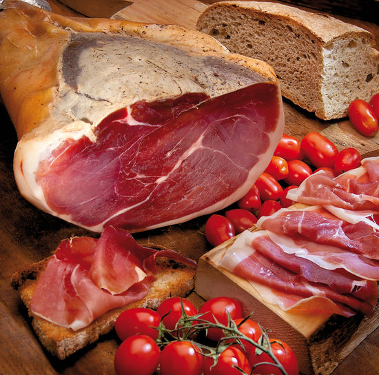Typical Tuscan ham with tomato and bread in the composition of chopped ham slices Abundance Chopped Collection Food Food And Drink Freshness High Angle View Indoors  Indulgence Large Group Of Objects No People Red Sack Temptation Tomato Vegetable