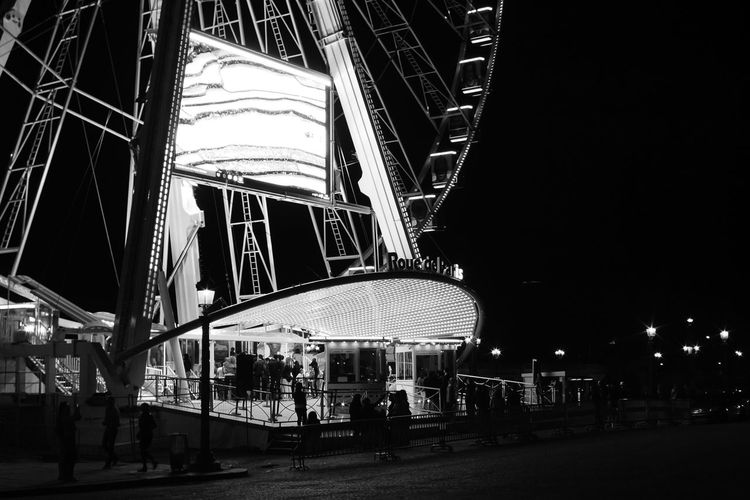 Cities At Night Grand Roue Paris Paris, France  Blackandwhite Photography Monochrome Original Experiences The Innovator