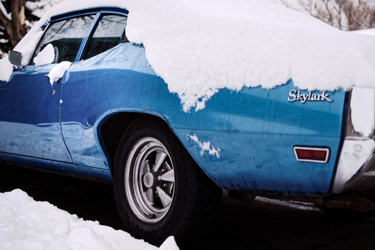 1970 Buick Skylark in the snow. 1970 Blue Buick Car Classic Car Cold Temperature No People Outdoors Skylark  Snow Stationary Transportation Travel Winter