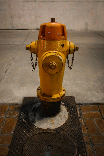City City Life Fire Fighting Equipment Industrial Night Photography Paint The Town Yellow Art Close-up Cute Fire Fighting Fire Hydrant No People Oxidized Personality And Attitude Rusty Taken By M. Leith Yellow