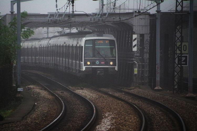 Nuances De Gris Rer B Architecture Foggy Day No People Rail Transportation Railroad Track Train - Vehicle