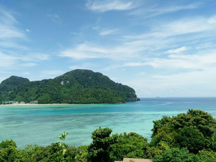 I love this view🌊 Tree Water Sea Mountain Blue Beach Summer Tropical Climate Sky Horizon Over Water