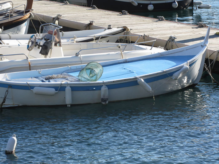 Little fishing boats anchored in a village port of Golfo Dei Poeti, Province of La Spezia, Italy Afloat Anchored Boats Bumper Fish Fishboat Fishing Boat Float Golfo Dei Poeti Italy Little Moored Paddle Poeti Port Rope Rowing Sea Small Tiny Tourism Touristic Transportation Wood Wooden