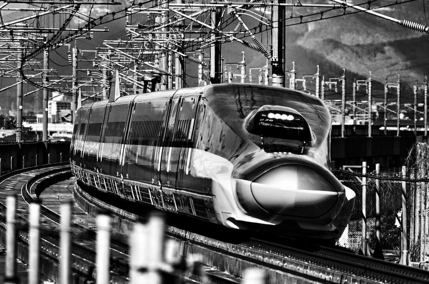 Capture The Moment Train Japanese  Shinkansen Rail Transportation Blackandwhite Transportation Futuristic Fine Art Photography Depth Of Field Getting Inspired Monochrome Urban Exploration Shine Bright Streetphotography Darkness And Beauty Light And Shadow Snapshots Of Life No People Full Frame Detail SONY A7ii Sigma EyeEm Best Shots 17_10 EyeEmNewHere Black And White Friday
