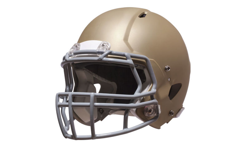 Modern football helmet in gold isolated on a white background Helmet Football Modern Gold Isolated Facemask Three Quarter View Protection Headgear Equipment Sports American Football Gray Color Image Photography No People White Background Gear Professional Style American Football - Sport Sports Equipment Sports Helmet Single Object