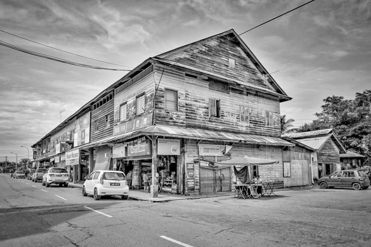 Old shop houses Architecture Black And White Black And White Photography Built Structure Kinarut Sa Old Buildings Old Shop Outdoors Sky Small Town Wooden Building Wooden Shop Houses