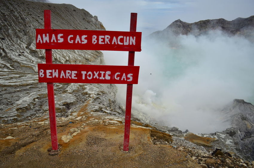 Warning boards before entering the Ijen crater Ijen Ijen Crater IjenMountain Crater Kawah Ijen Volcano Crater Lake Toxic Gas Signboard Warning Warning Sign East Java INDONESIA Adventure Backpacking