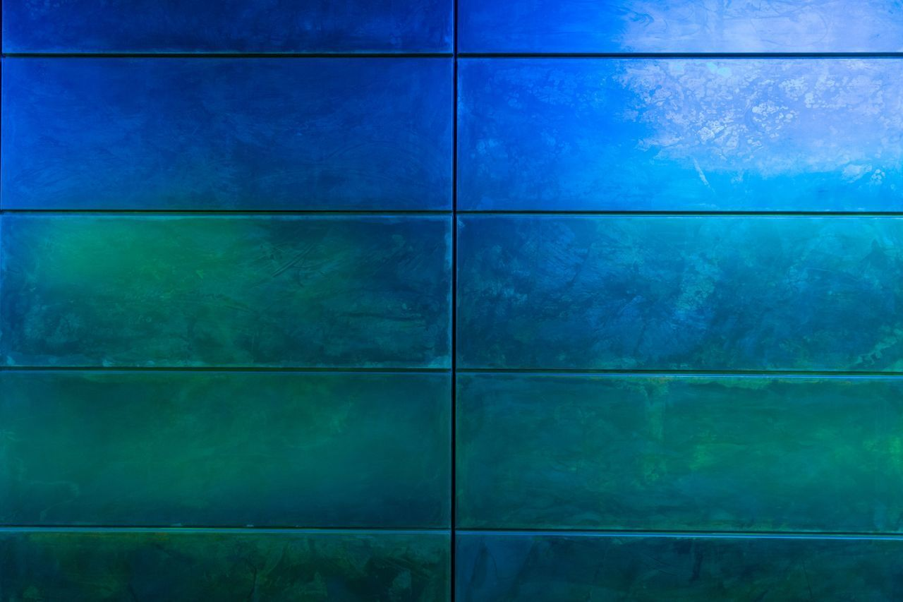 blue, backgrounds, pattern, full frame, no people, green color, flooring, textured, indoors, built structure, tile, close-up, architecture, square shape, wall - building feature, nature, reflection, abstract, in a row, turquoise colored, digital composite, textured effect