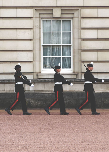 Architecture Buckingham Palace Building Exterior Built Structure City Day Full Length London United Kingdom Monarchy No Filter, No Edit, Just Photography No People Occupation Outdoors Police Force Police Uniform Real People Standing Togetherness Uniform