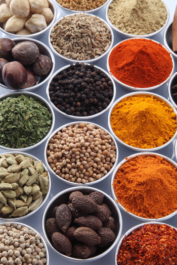 Close-up of various spices on white background