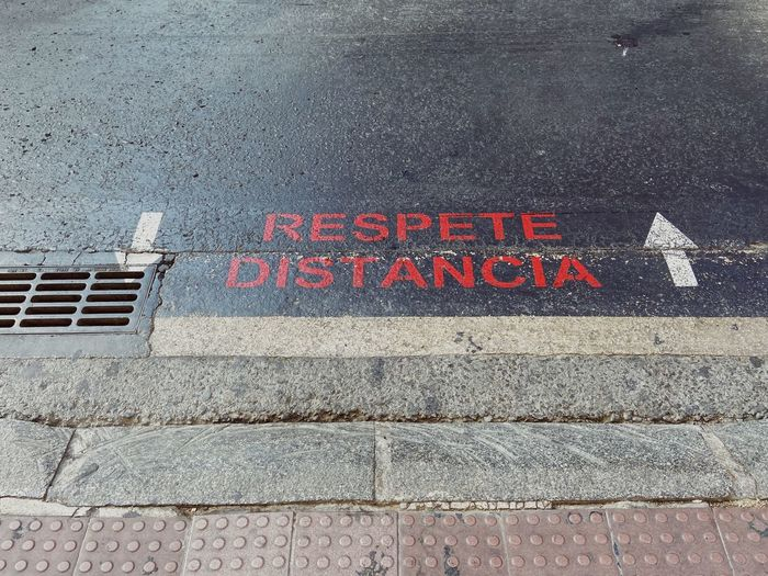 High angle view of text on street