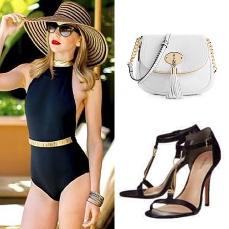 Beautiful pool day out fit with the black swimsuit, with blacksimple heels with gold on them and and simple small white purse with an amazing hat.