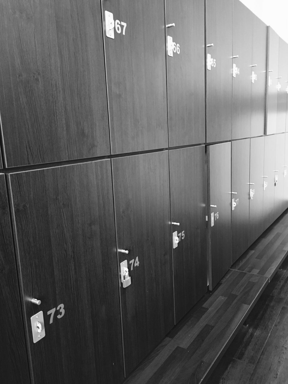 number, in a row, locker, indoors, safety, locker room, communication, no people, day, close-up
