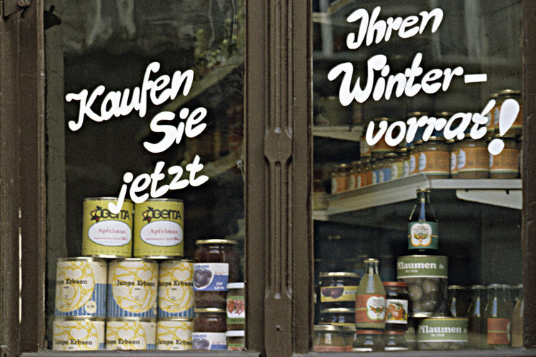 Askcetic Food Close-up Foodstuff In A Small Shop Indoors  No People Old Shop Window Prenzlauer Berg, Ost Berlin Small Private Shop In East Berlin Socialiism Tins In Shop Window Winter Vorrat