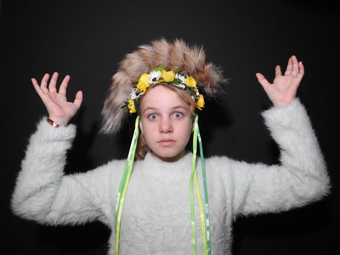 Funny 😂 Fur Russia Daughter Angelina Angel Winter Happy Sankt-Petersburg Sankt-peterburg Colors Of Sankt-Peterburg Model Fashion Blond Hair Portrait Looking At Camera Human Hand Headwear Human Arm Front View Arms Raised Fashion Show The Creative - 2019 EyeEm Awards