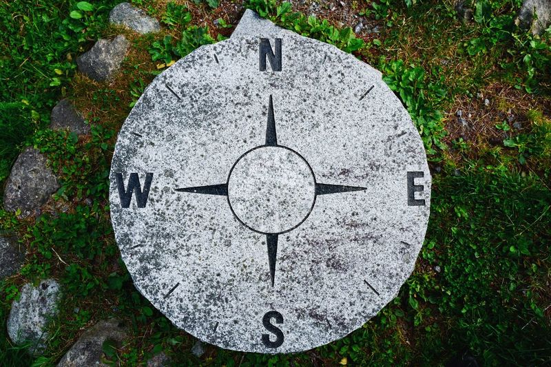 Still Life Stone - Object Stone Material Stone Directional Sign Direction Compass Shape Geometric Shape Circle Design No People Day Pattern Plant High Angle View Directly Above Communication Creativity Textured  Grass Text Land