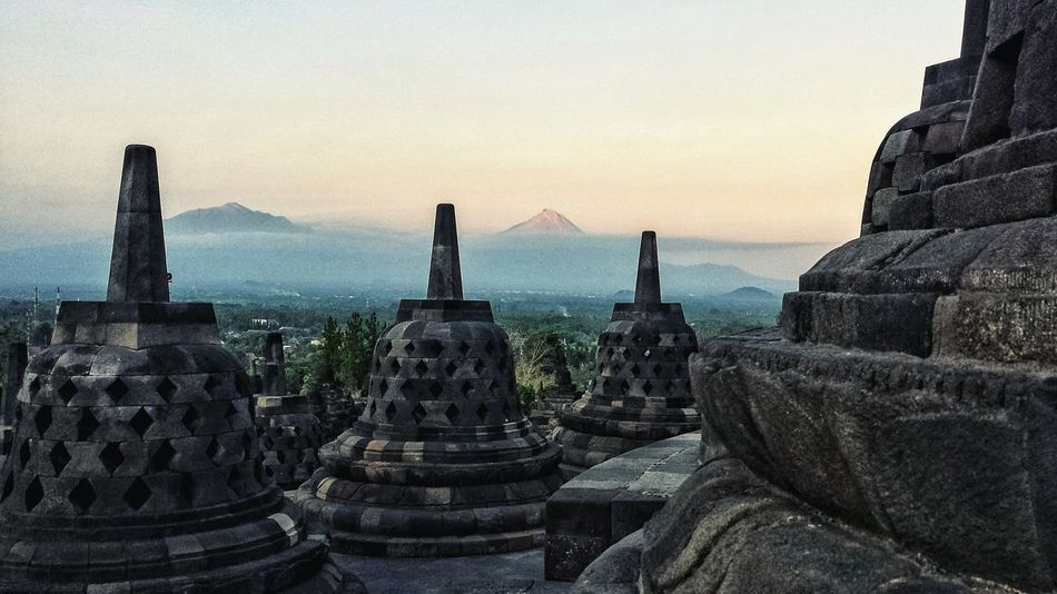Borobudur Java INDONESIA Stupa Buddhism Temple Dawn Volcano History Outdoors ASIA Southeast Asia Ancient Civilization Buddhist Dry Season High Angle Sunrise Merapi Mountain Landscape Mount Merapi