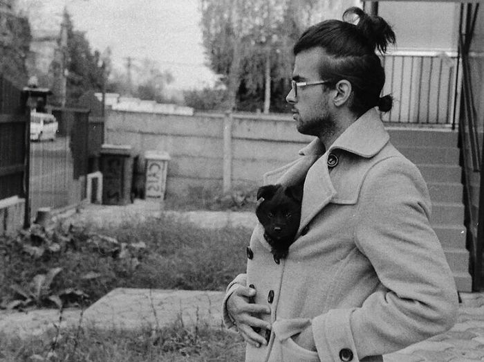 Film Photography Black & White Blackandwhite Photography Zorki4 Puppy Dogs Of EyeEm One Person Manbuns Tmax400
