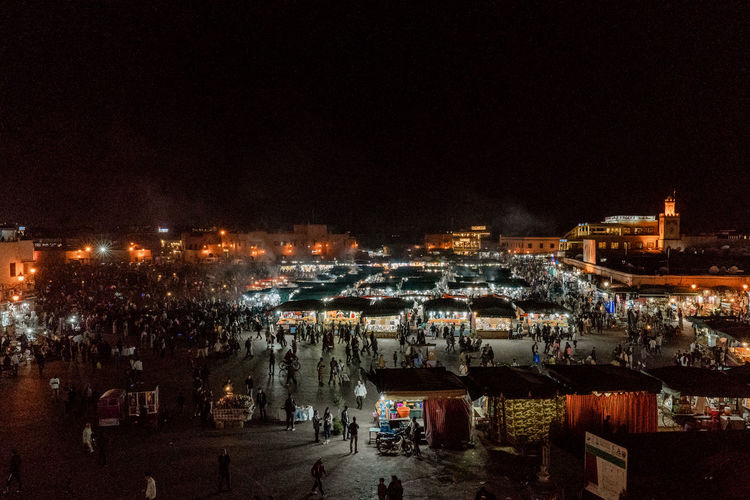 Marrakesh Marrakech Morroco Travel Destinations Nightlife High Angle View Illuminated Old Town Market Street Market Tourist Destination El-fnaa Souk