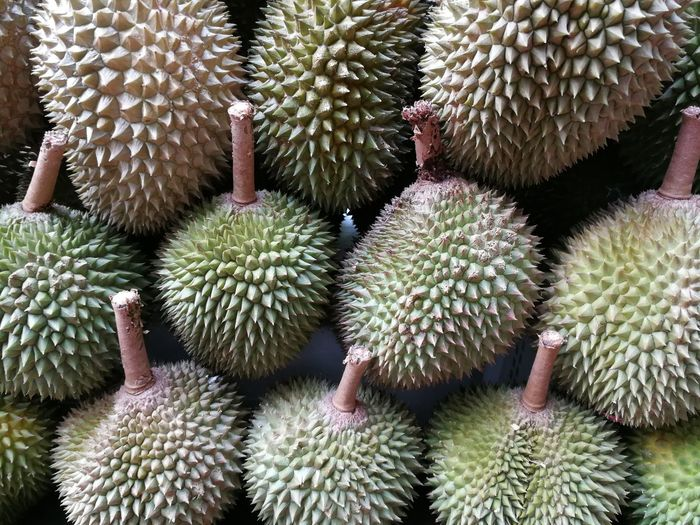 Display of durian fruit