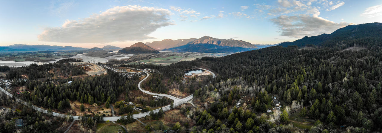 Aerial panorama of valley during sunrise