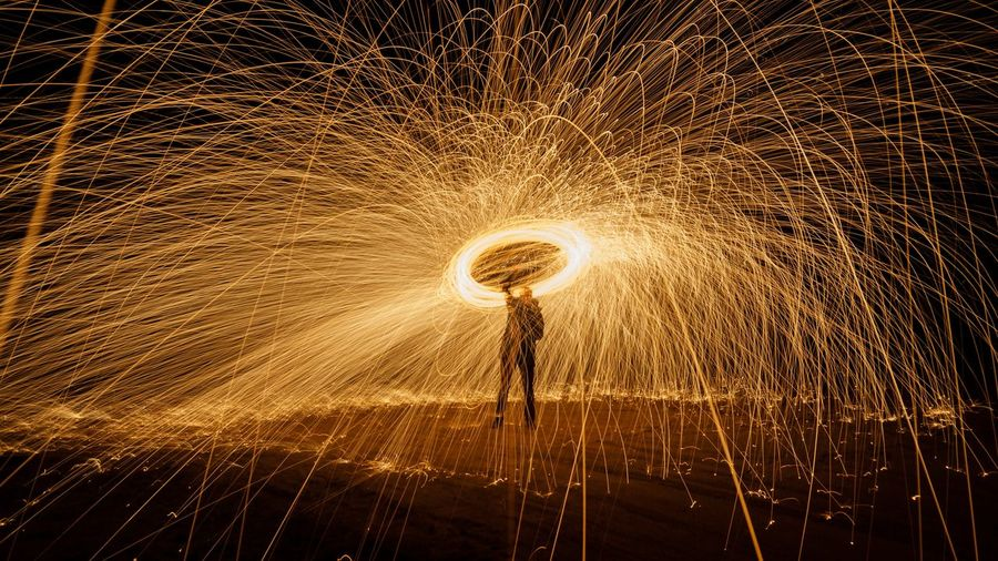 Long Exposure Motion Circle Night Silhouette Wire Wool EyeEm Ready