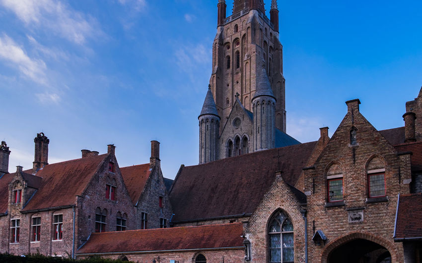 Low angle view of church of our lady against sky