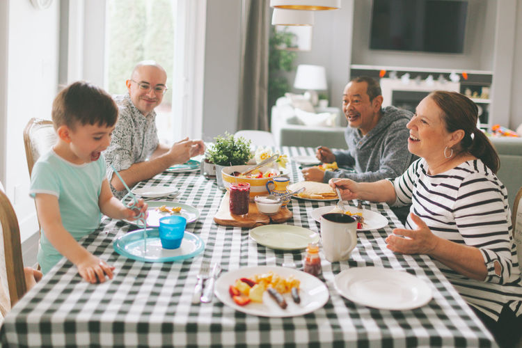 Family having lunch at home