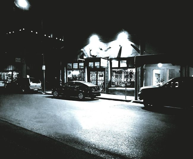 Off Season (B&W) Black And White Night Photography Architecture Built Structure Illuminated Building Exterior City Transportation Night Car Street Light Sky Mode Of Transportation No People Nature Street Land Vehicle Outdoors Building Road Motor Vehicle