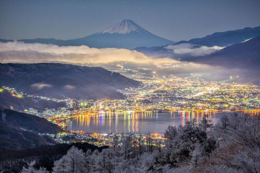 高ぼっち高原からの諏訪市の夜景 Suwa city NAGANO prefecture Japan Winter Nagano Suwa Lake Japan Nightphotography Cold Temperature Lake Mt.Fuji Mountain Reflection No People Mountain Range Outdoors Illuminated Night Nature City Cityscape Mobility In Mega Cities Colour Your Horizn EyeEmNewHere