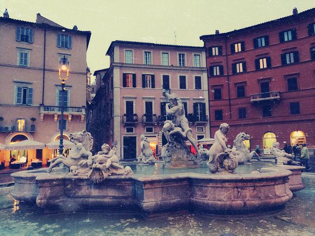 Rome PiazzaNavona Fountain Water Building Exterior Architecture