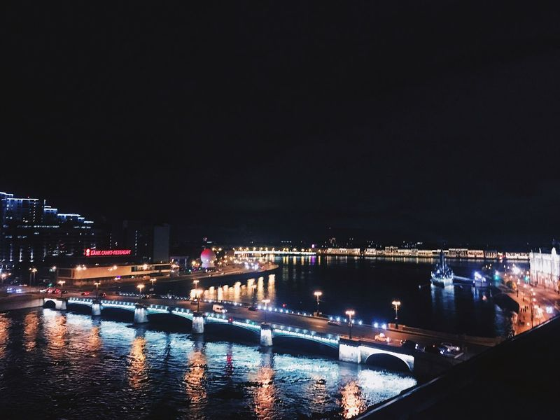 Night Illuminated Architecture Built Structure Building Exterior City Bridge - Man Made Structure Connection River Travel Destinations Outdoors Water Cityscape No People Sky Clear Sky Chain Bridge Growth Maximpolyak Saint Petersburg Autumn City No Peoples