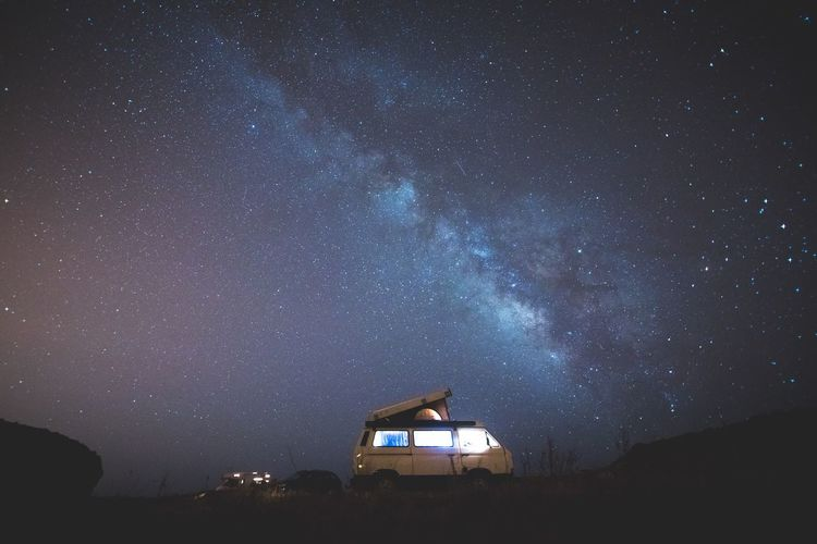 A perfect place to sleep in a van 🌌 Star - Space Astronomy Night Milky Way Sky Nature Galaxy Adventure Outdoors Beauty In Nature VW Friends Explore Portugal Your Ticket To Europe Vanlife Travel