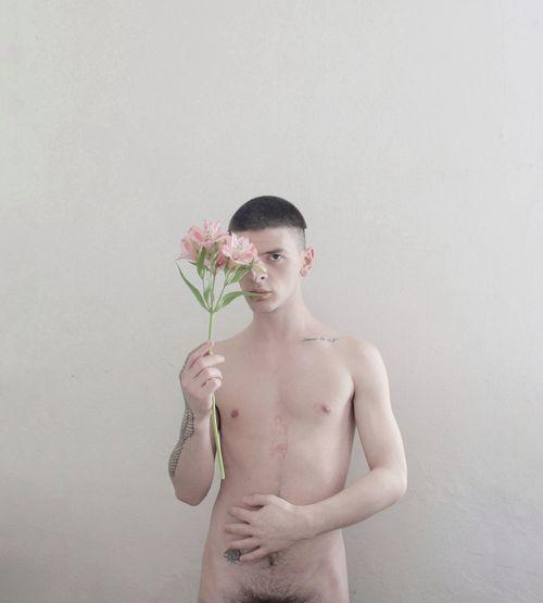 Aesthetics Emotions Nude-Art Nudity, Pink Plant Queen Art Canonphotography Flower Male Nude_model Nudeartphotography One Person Pale Photography Portrait Selfportrait Shirtless Studio Shot Young Men