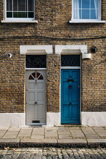 Closed doors of building
