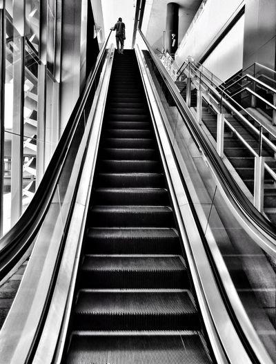 Leading Lines Repetition Streetphotography Street Photography Blackandwhite Black And White Steps And Staircases Steps Staircase Escalator Moving Walkway  Transportation Building - Type Of Building Rail Transportation Railway Track Railway Station Platform Public Transportation Stairway Train Station