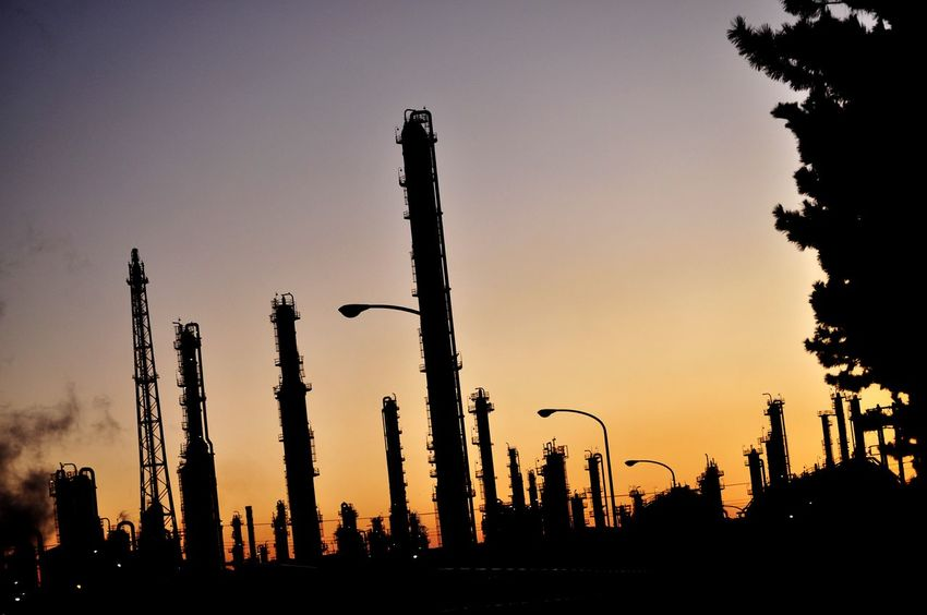 Shilhouette Twilight Sunset Bokeh Industrial Area Darkness 工場地帯 工場夜景???